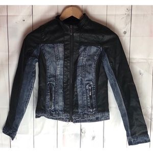 Newlook Leather and Denim Biker Jacket Size Small